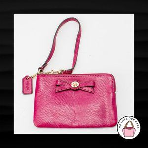 $85 COACH PINK CRANBERRY LEATHER BOW WRISTLET